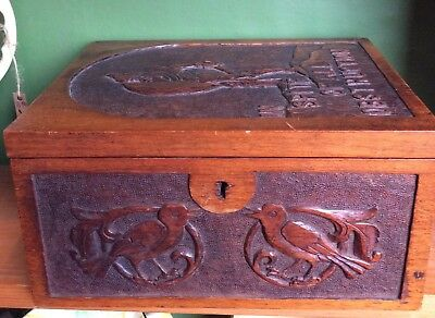 Antique Carved Wooden Box, Arts And Crafts