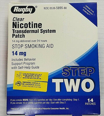 14 STEP 2  Stop Smoking Aid EXP 02-2020 Nicotine Transdermal Patches RUGBY