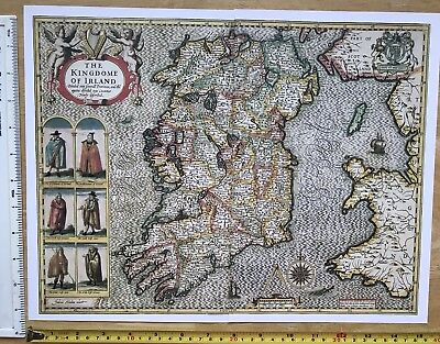 "Old Antique Tudor map of Ireland: John Speed 1600's, 1610 15"" x 11"" (Reprint)"