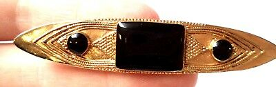 "Stunning Vintage Estate Black Cab Gold Tone 3"" Brooch!!!!! 8936H"