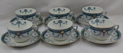 Wood and Sons England Aqua Blue Gold Trim Set of 6 Cups and Saucers
