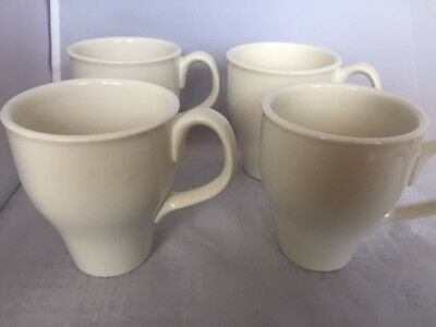 PRICE CUT Set of 4 Russel Wright Iroquois Mugs Restyled Sugar White