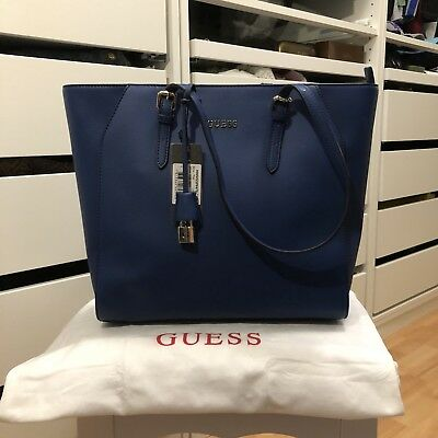 guess tasche handtasche blau shopper schultertasche. Black Bedroom Furniture Sets. Home Design Ideas