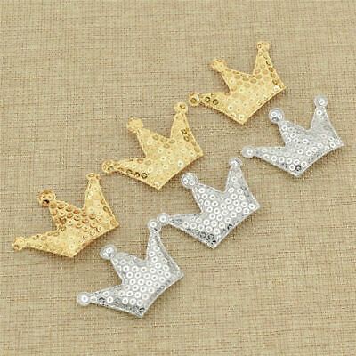10 Pcs Crown Sequins Patches Iron on Sew on Appliques DIY Clothes Bags Stickers