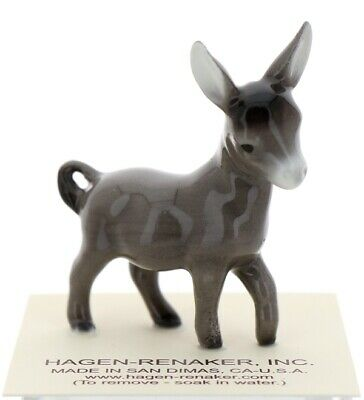 Gray Burro Miniature Ceramic Figurine Donkey Model Made in USA by Hagen-Renaker