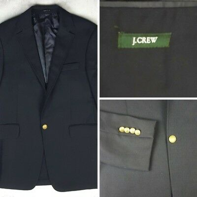 J.Crew 38S Navy Blazer 1-Button Suit Jacket 100% Wool Made in the Canada AF5