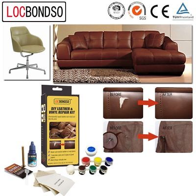 LOCBONDSO Sofas Leather Vinyl Repair Kit Fix Rips Burns Holes No Heat Liquid