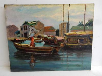 vintage old PAINTING oil signed Earl