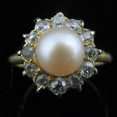Antique Old European Cut Diamond Pink Pearl Ring 18k Yellow Gold Estate Vintage