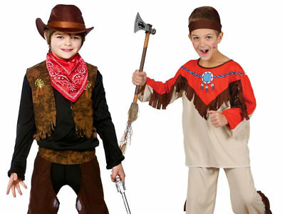 Boys Cowboy Indian Native Wild West Costume Kids Fancy Dress  sc 1 st  PicClick UK & BOYS COWBOY INDIAN Native Wild West Costume Kids Fancy Dress - £6.99 ...