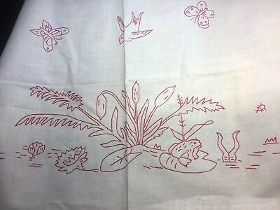 Antique RedWork Linen PillowSham Frogs Toads Red Splasher Birds 30x22