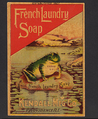 Frog 1800's Kendall French Laundry Soap Providence RI Soapine Advertising Card