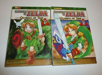 Part 1 & 2 - The Legend of Zelda Ocarina of Time Books Anime Manga Nintendo Lot
