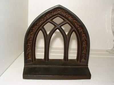 Vintage 1920's Bradley Hubbard Cast Iron Gothic Revival Arch Window Bookend