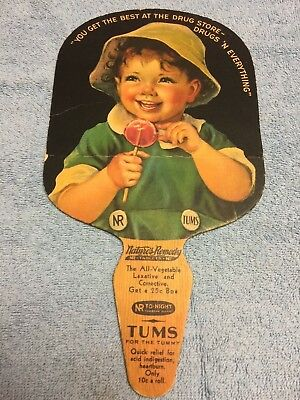 Vintage Paper Advertising Fan Sign-Tums-Nature's Remedy-Lockport NY