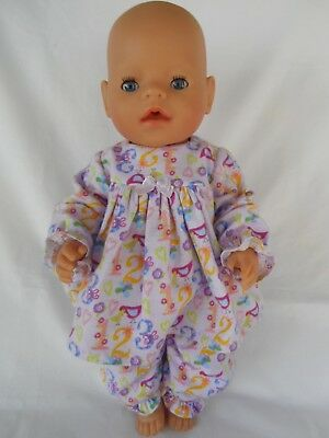 Handmade dolls clothes, Winter pyjamas set, suit 40-43cm Baby Born doll.