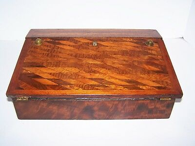 Antique Inlaid Writting Slope Lap Desk With Ink Wells And Eyeglasses