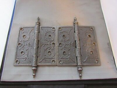 "VTG Antique Cast Iron Hinges Ornate Victorian 6"" x 6"" Steeple Finial Circa 1870"