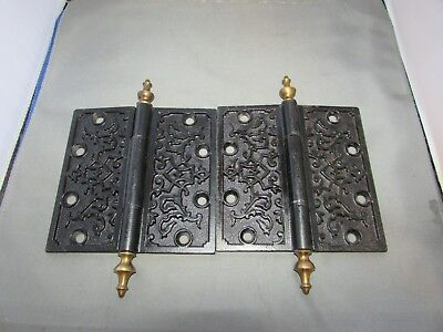 "Antique Cast Iron Hinges Steeple Finial Eastlake Victorian Brass 5.5"" x 5.5"""