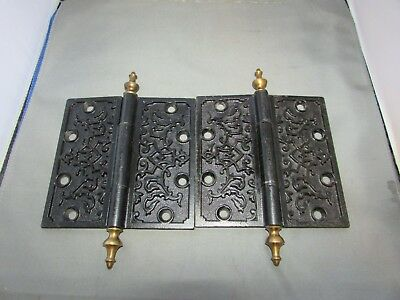 "VTG Antique Cast Iron Hinges Steeple Finial Ornate Victorian Brass 5.5"" x 5.5"""