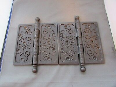 "VTG Antique Cast Iron Hinges Ornate Victorian 6"" x 6"" Circa 1870 Eastlake"