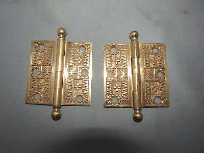 VTG Antique Brass Eastlake Victorian 2.5 x 2.5 Pair of Hinges Beautiful Restored