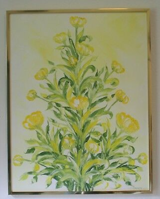 Vintage Blooming Yellow Tulips Oil Painting On Canvas Framed Signed