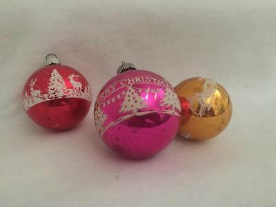 Vintage Shiny Brite Stencil Glass Christmas Ornaments-Pink Red Gold-Lot of 3