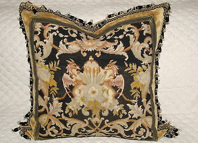 19TH c ANTIQUE NEEDLEPOINT TAPESTRY PILLOW w GRIFFINS GOTHIC~VERY VERSACE