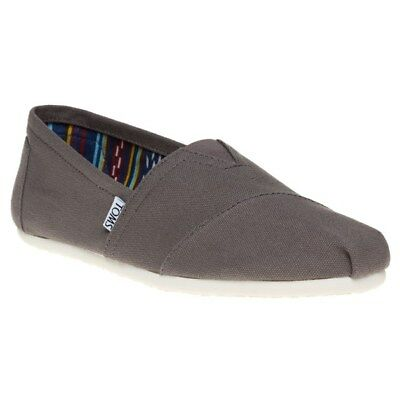New Mens Toms Grey Classic Canvas Shoes Slip On