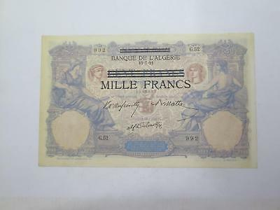 Tunisia Vichy Government German Occupation 1000 Francs Ovr 100 Banknote Lot Wwii