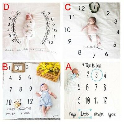 Cute Numbers Print Newborn Baby Photography Props Blanket Wraps Backdrops Towels