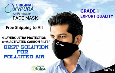 Oxypura Air Purifying face mask - Anti Dust smoke carbon multilayer Respirator