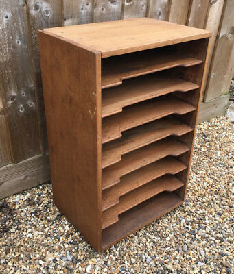 Vintage Oak & Pine Office Study paper leaflet storage filing rack shelves