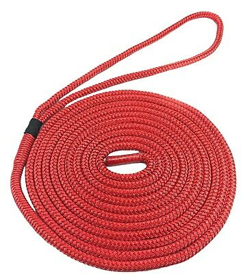 Red Dockline Double Braid on Braid Polyester Mooring Rope Dock Lines 10mm