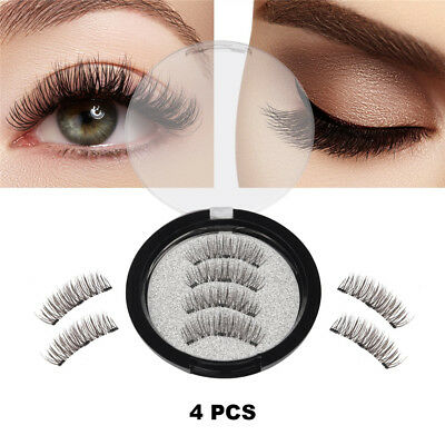 Lot Triple Magnetic 3D Eyelashes Handmade Reusable Magnet False Long Eye Lashes