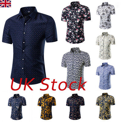 32f731f13 UK Mens Short Sleeve Hawaiian Shirts Summer Beach Holiday Fancy Dress Tops  M-5XL