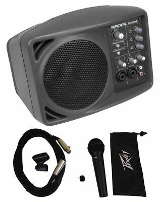 New Mackie SRM150 Powered Active PA Monitor Speaker + Peavey PVI2XLR Microphone