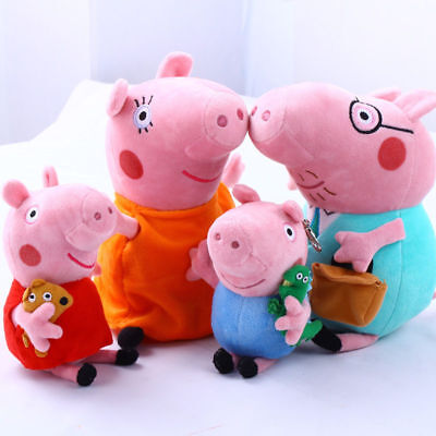"Peppa Pig Full Family Peppa George Daddy & Mummy 12"" 8"" Plush Soft toys Gifts"