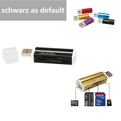 All in 1 USB 2.0 Kartenleser Multi Card Reader Kartenlesegerät Adapter Schwarz