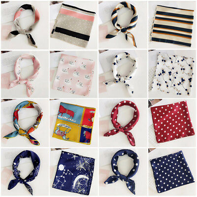 New Elegant Square Silk Feel Satin Scarf Small Vintage Head-Neck Hair Tie Band