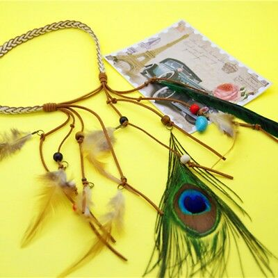 Bohemia Peacock Feather Retro Feather Headband Rope Knitted Tassel Hair Band