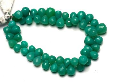 """Natural Gem Green Chalcedony 8x6 to 9x7MM Faceted Teardrop Shape Beads 7"""""""