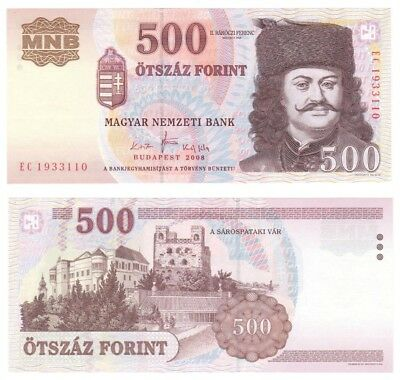 HUNGARY 500 Forint Banknote (2008) P.188f - UNC.