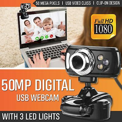 Full HD USB 50 MP Webcam 3 LED Video Camera with Microphone for PC Laptop Skype