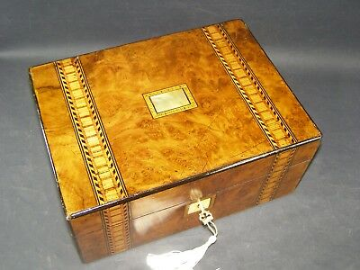 Antique Tunbridge Banded Box Working Lock & Key 1870 Mother Of Pearl Center