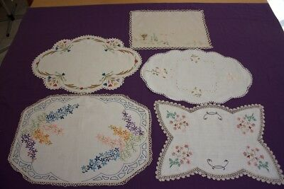 5 Large VINTAGE DOILIES Cream & White Linen/Cotton Embroidered & Crocheted #175