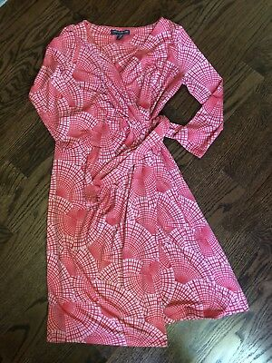 A pea in the pod Maternity wrap dress 3/4 sleeve XS Coral stretch Jane The Virgi
