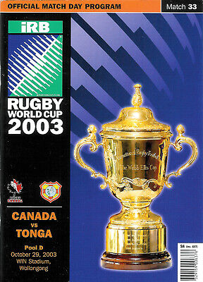CANADA v TONGA 29th OCTOBER 2003 RUGBY WORLD CUP PROGRAMME Match 33