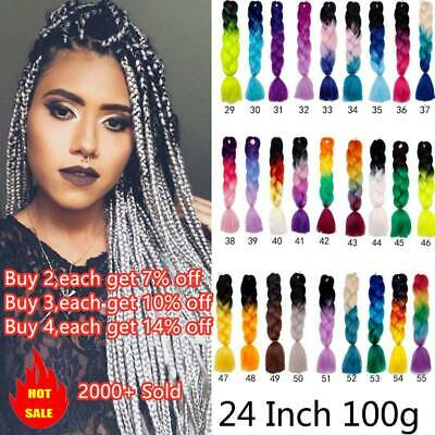 24'' Afro Twist Braids Ombre Synthetic Kanekalon Jumbo Braiding Extension Hair